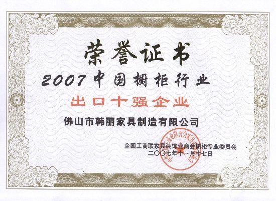 2007中国橱柜行业出口十强
