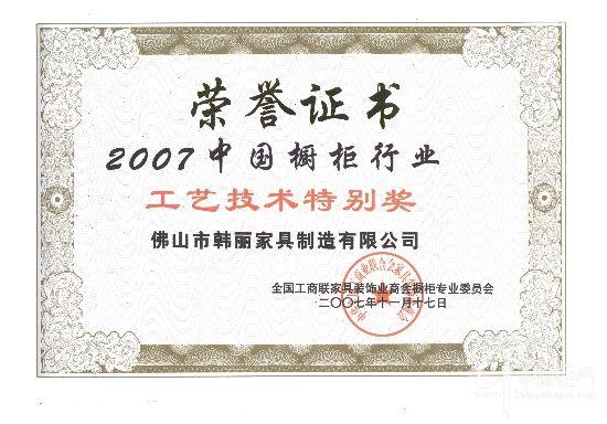 2007中国橱柜行业工艺技术特别奖