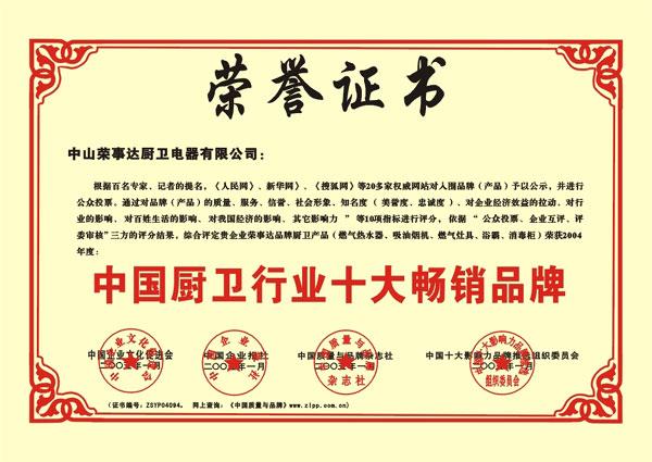 中国厨卫行业十大畅销品牌