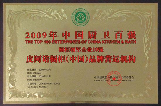 2009年中国厨卫百强橱柜领军企业10强
