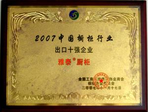 2007年中国橱柜行业出口十强企业