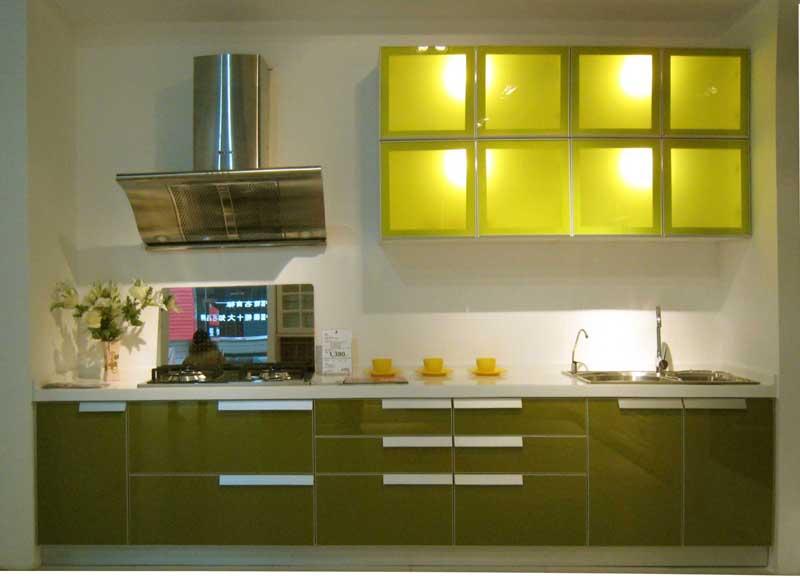 爱得整体厨房-巴黎简绿橱柜效果图