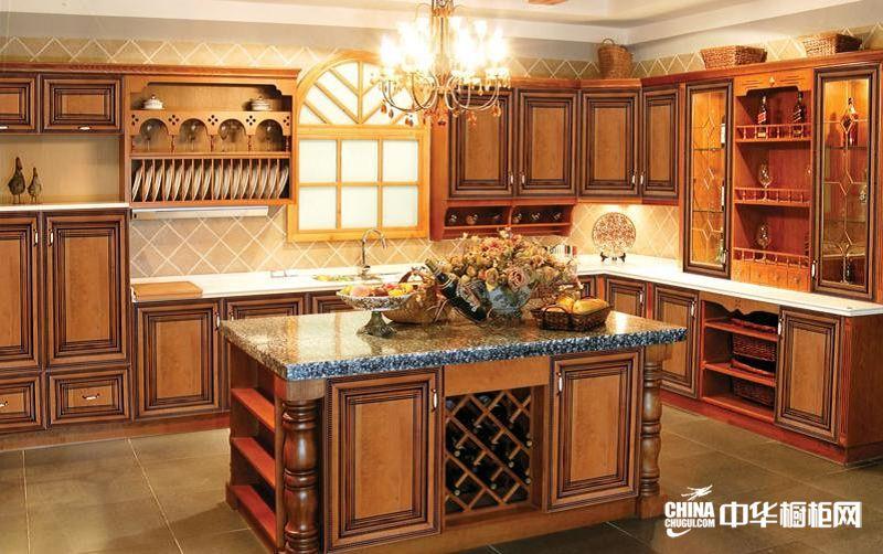 实木整体橱柜效果图 渥尔渥橱柜整体橱柜产品 古典风格橱柜图片