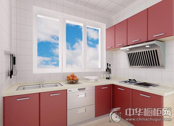 爱家厨柜效果图 红色简约风格橱柜图片