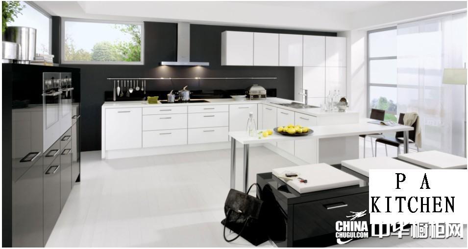 品爱厨柜图片 黑白经典厨房装修效果图