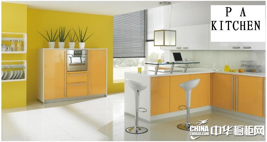 品爱厨柜效果图 黄色吧台橱柜图片