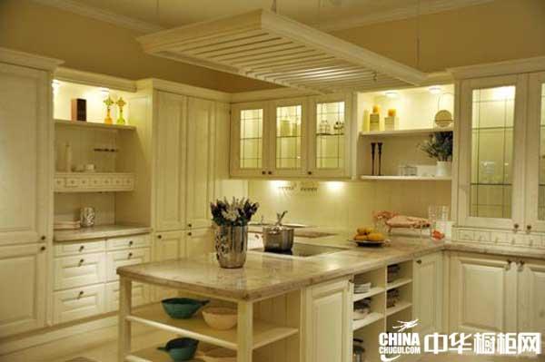 奶白色整体橱柜图片 美高印象整体橱柜产品爱情海 欧式田园风格