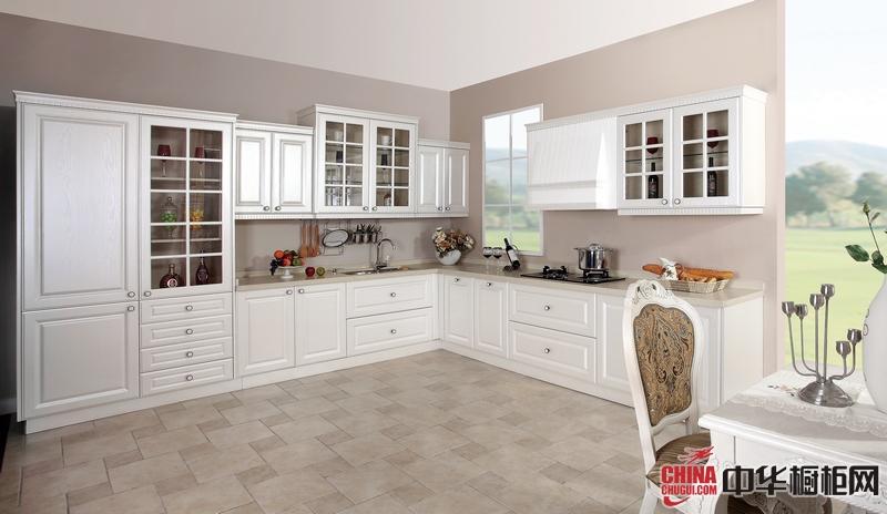 白色实木橱柜图片 箭牌橱柜枫丹丽舍彰显简单的奢华