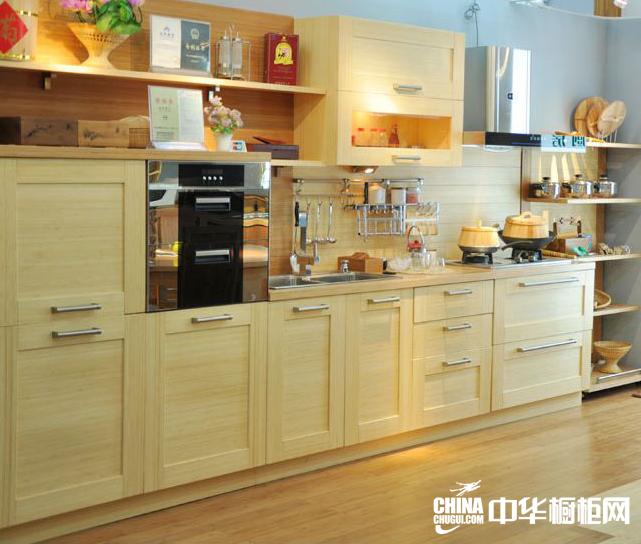 橱柜效果图 竹制开放式厨房装修效果图