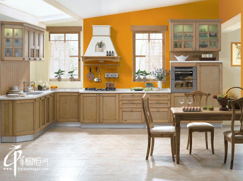金牌厨柜-古典系列橱柜效果图-波西塔诺 L型厨房装修效果图大全