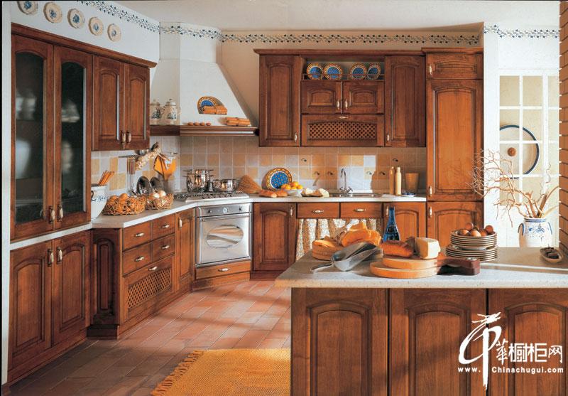 金牌厨柜-古典风格整体橱柜设计效果图-维罗纳 田园风格厨房装修效果图欣赏