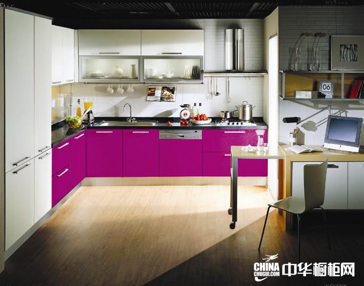 韩国汉森整体橱柜图片 线白与酒红厨房装修效果图