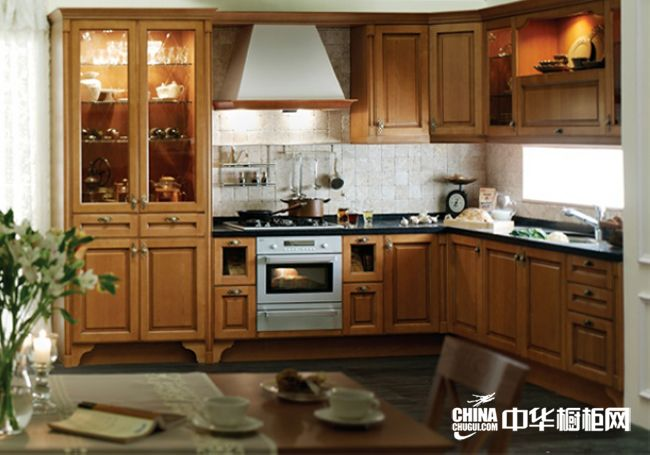 欧式古典风格橱柜图片 汉森橱柜整体橱柜效果图 实木橱柜柜体