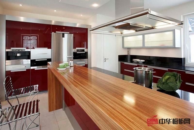 现代橱柜设计 开放式厨房装修效果图 红色吧台式整体橱柜
