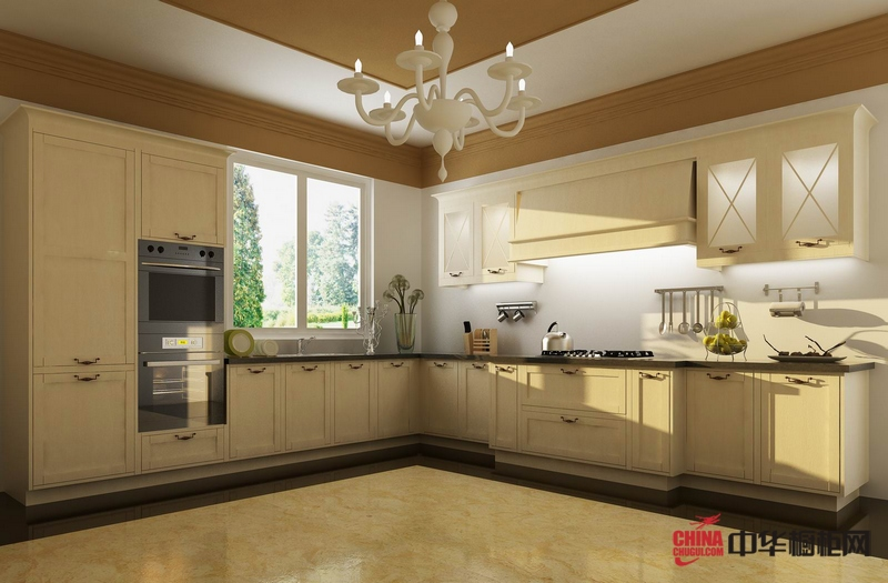 容声橱柜开放式厨房装修效果图 欧式白色橱柜效果图