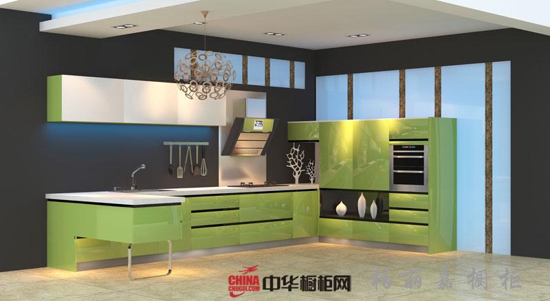 现代简约风格柏丽嘉橱柜图片 绿色烤漆橱柜图片|不锈钢橱柜图片 L型厨房橱柜效果图欣赏