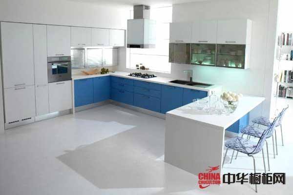 蓝白整体橱柜效果图 三乐橱柜整体橱柜产品 现代简约风格橱柜图片