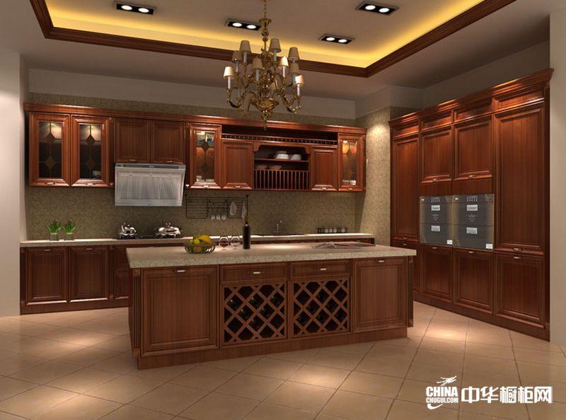 棕色实木整体橱柜效果图 o.pratoni欧意普拉托尼橱柜产品 古典风格橱柜图片