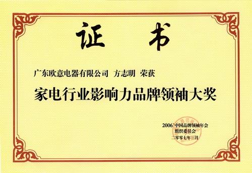 家电行业影响力品牌领袖大奖