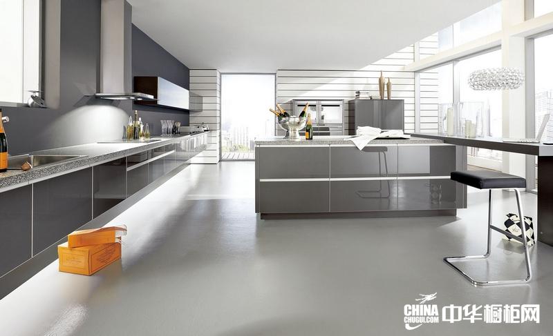 烤漆橱柜效果图 艾诺橱柜整体橱柜产品冷酷黑 现代简约风格橱柜设计图