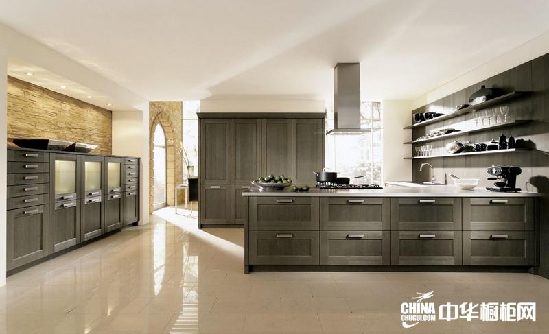 简欧橱柜效果图 艾诺橱柜整体橱柜产品檀木黑 欧式风格橱柜设计
