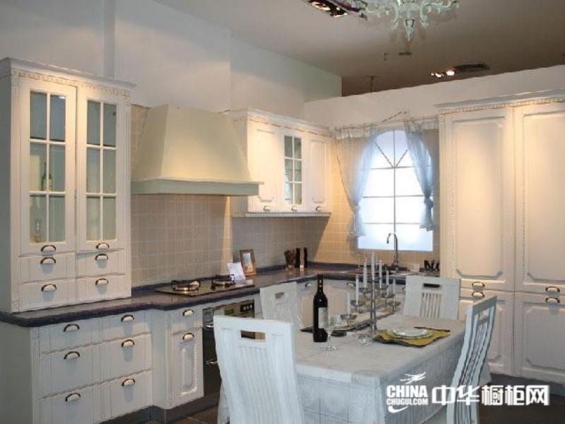 欧式田园风格佳合橱柜图片——白色系列整体橱柜效果图 整体橱柜图片展示恬静之美
