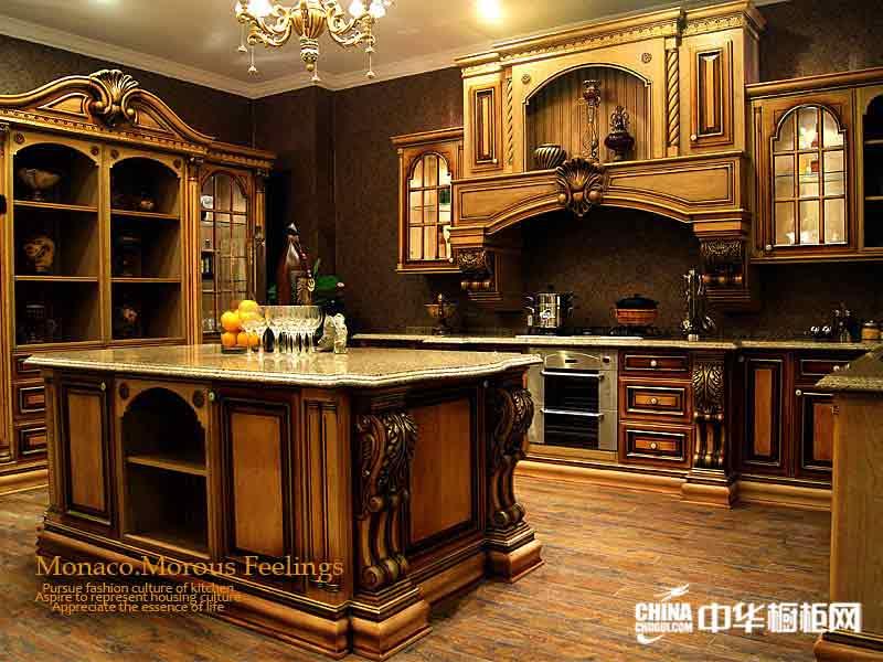 华美不锈钢整体橱柜效果图-古典风格