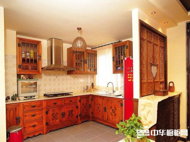 酱红色整体橱柜 中式古典风格橱柜