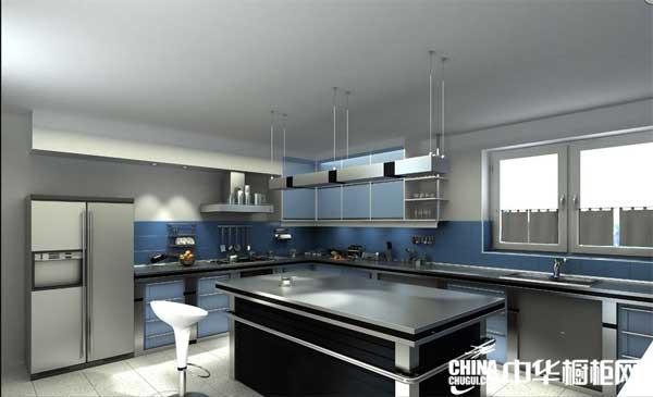 蓝色烤漆整体橱柜图片 博西尼橱柜图片 现代简约风格