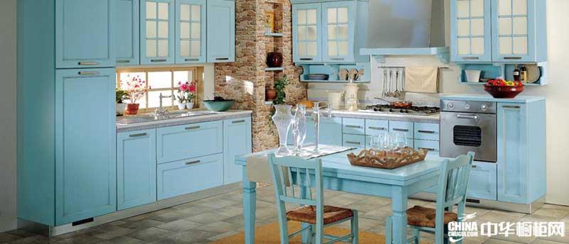 蓝色整体橱柜 爱克萨思整体橱柜产品图 地中海田园风格整体橱柜图片
