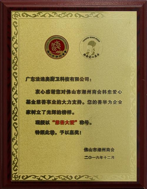 慈善大爱证书