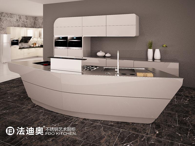 法迪奥不锈钢厨柜效果图 简约风格橱柜图片