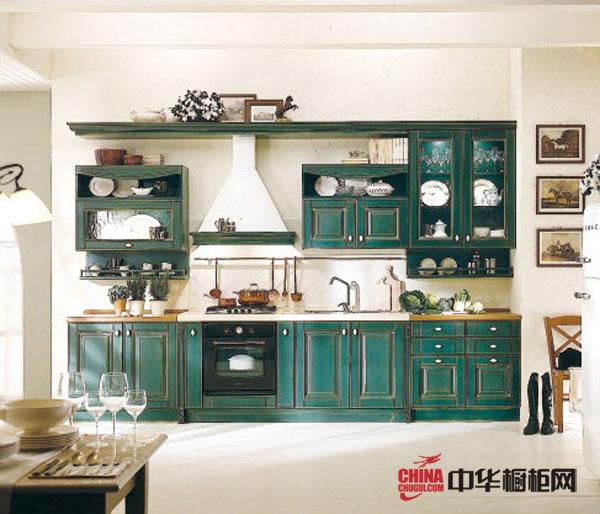 绿色实木橱柜 英帝德欧式橱柜设计图 田园风格橱柜图片