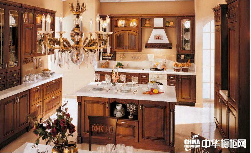 北美樱桃木厨柜效果图 新维罗纳整体橱柜效果图