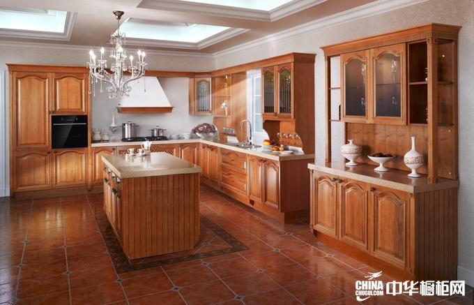 欧式古典中岛形整体橱柜效果图 乐芙曼橱柜开放式实木