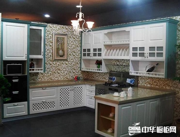 开放式厨房装修效果图 经典混搭整体橱柜图片