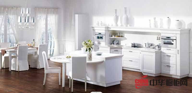 白色欧式整体橱柜效果图 开放式厨房装修设计图