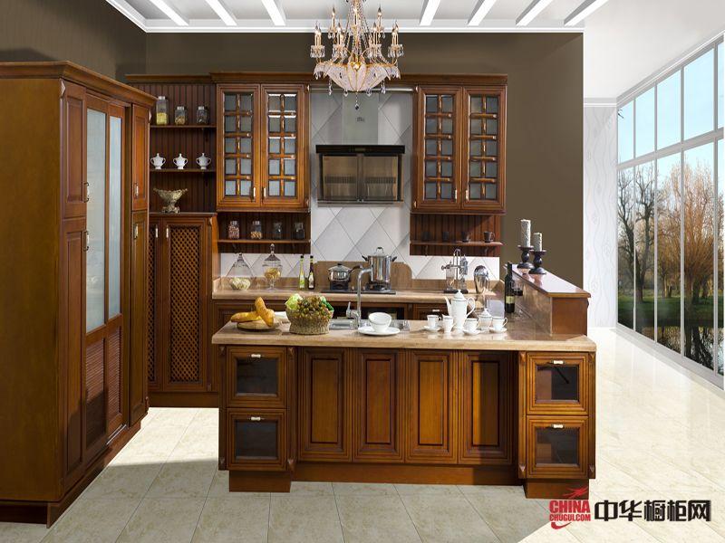 古典风格凯撒系列整体橱柜效果图 实木整体橱柜图片