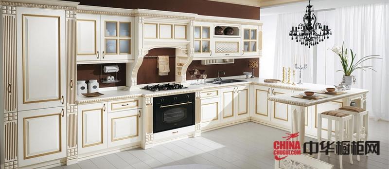 雅家风尚橱柜效果图-欧洲宫廷式厨房装修效果图-欧式风格橱柜图片