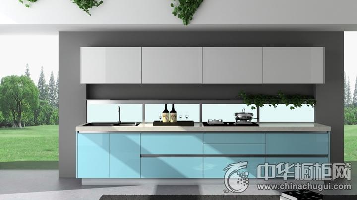 樱花整体厨房效果图 蓝色简约风格橱柜图片
