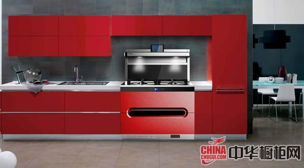 德西曼集成灶厨房装修效果图 红色橱柜热情似火