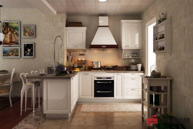 圣象整体厨房加州橡白 小户型厨房装修效果图:简欧式的厨房,最简洁的