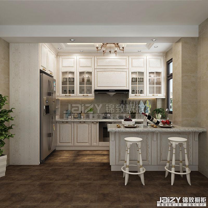 锦致橱柜 白金汉宫 厨房效果图 欧式风格橱柜图片