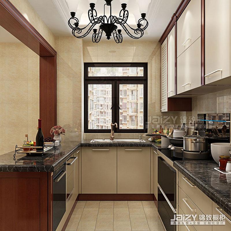 锦致橱柜 厨房效果图 实木橱柜 田园风格橱柜图片