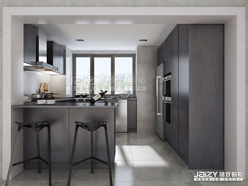 锦致橱柜 厨房效果图 灰色简约橱柜 简约风格橱柜图片