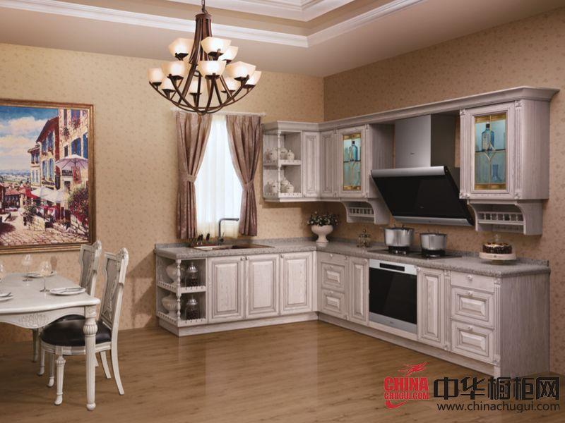 欧式风格橱柜图片 美的智能整体厨房冰岛月光