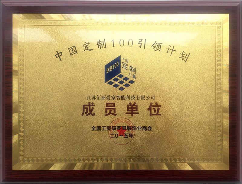 中国定制100引领计划成员单位