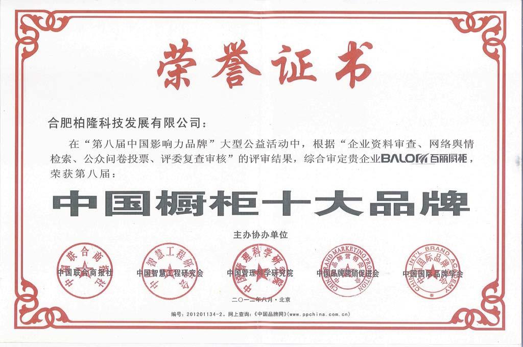 中国十大品牌荣誉证书