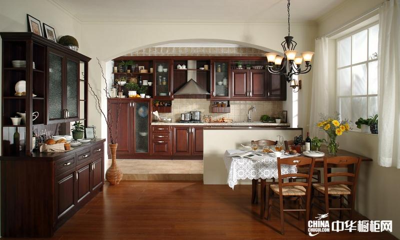 古典实木橱柜图片 隆森橱柜红色橱柜效果图