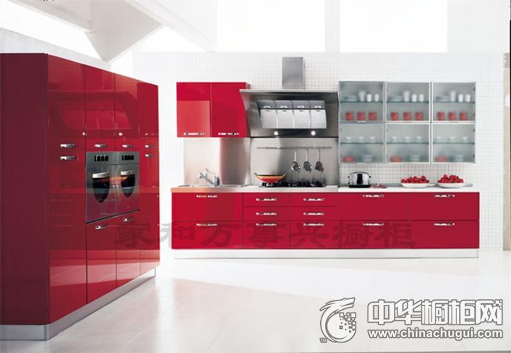 家和万事兴橱柜效果图 红色简约风格橱柜图片